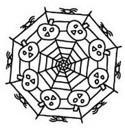 Kleurplaat Pompoenen in een spinnenweb