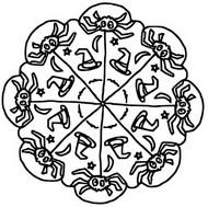Desenho para colorir Mandalas Dia das bruxas