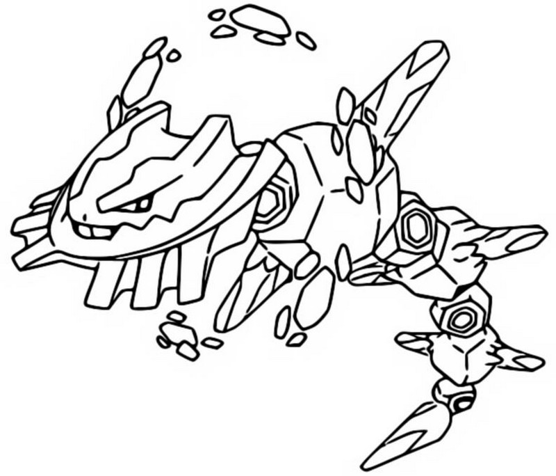 Coloring page Mega Evolved Pokémon : Mega Steelix 208 208