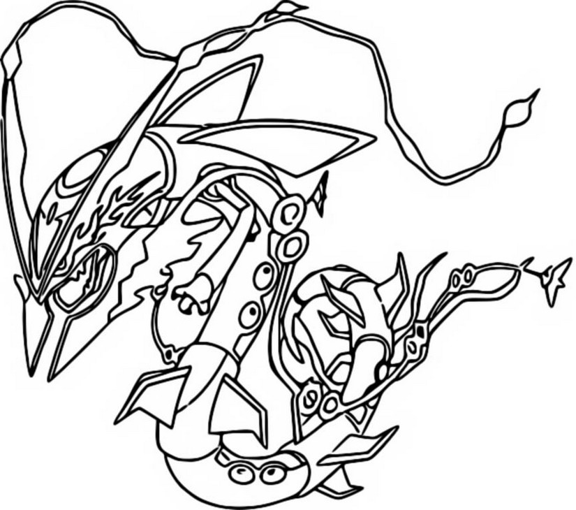 Coloring Page Mega Evolved Pokemon Mega Rayquaza 384 384