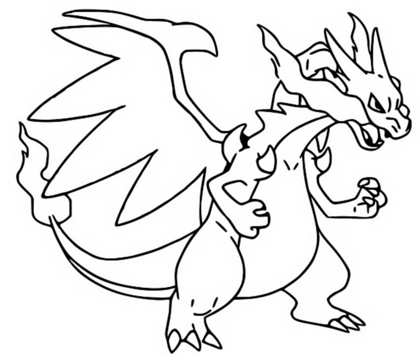 Coloring page Mega Evolved Pokemon : Mega X Charizard 6 6