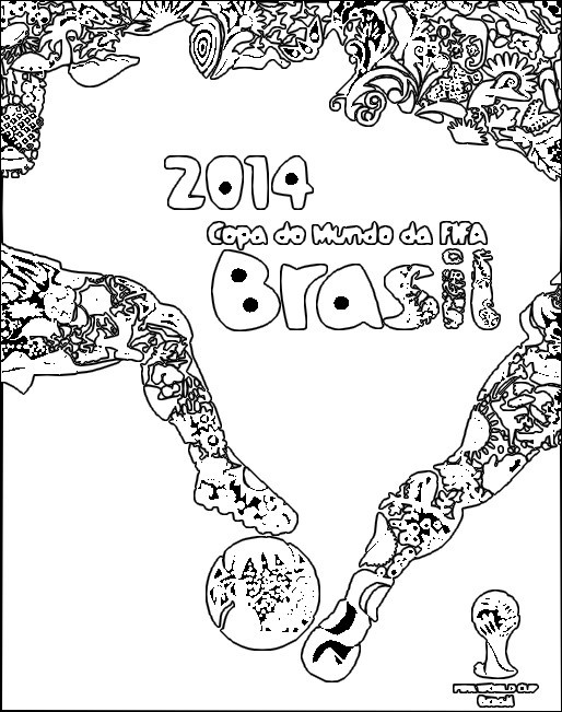 World Cup 2014 Colouring Pages Coloring Page 2014 Fifa World