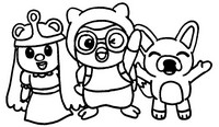 Coloring page Pororo, Petty and Eddy
