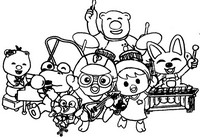 Coloring page Pororo play music