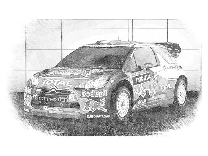 Dibujo para colorear Coches Citroen : Rallye DS3 Sebastien Loeb 10