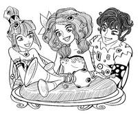 Desenho para colorir Mia, Mo, Yuko