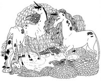 Coloring page Unicorns