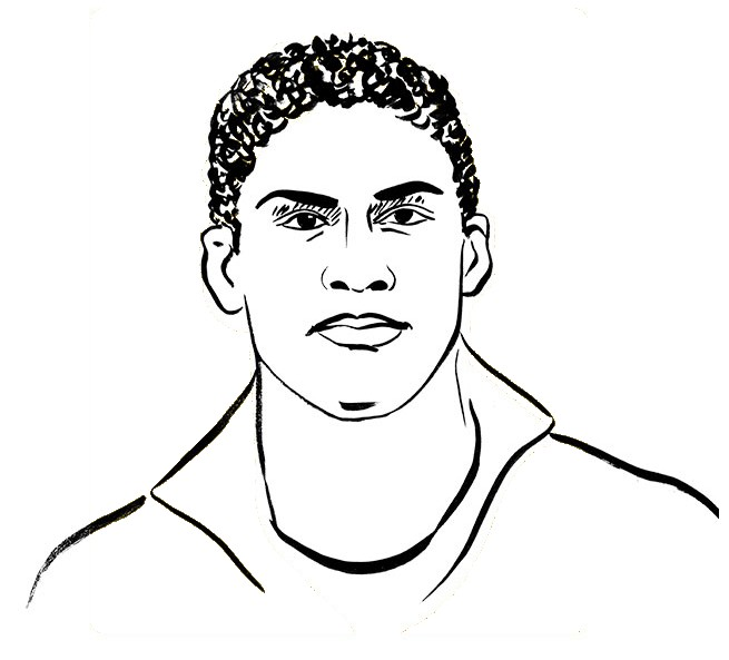 Coloring Page French National Soccer Team Raphael Varane 1