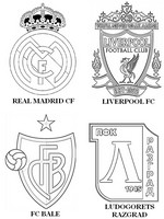 Coloring page Group B:  Real Madrid CF - FC Bâle - Liverpool FC -Ludogorets Razgrad