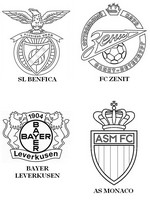 Coloring page Group C: SL Benfica - FC Zenit - Bayer Leverkusen - AS Monaco