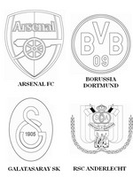 Coloring page Group D: Arsenal FC - Borussia Dortmund - Galatasaray SK - RSC Anderlecht