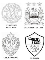 Coloring page Group E: FC Bayern Munchen - Manchester City - CSKA Moscou - AS Roma