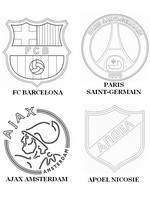 Coloring page Group F: FC Barcelona - Paris Saint-Germain - Ajax Amsterdam - APOEL Nicosi