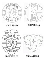Coloring page Group G: Chelsea FC - Schalke 04 - Sporting CP - NK Maribor