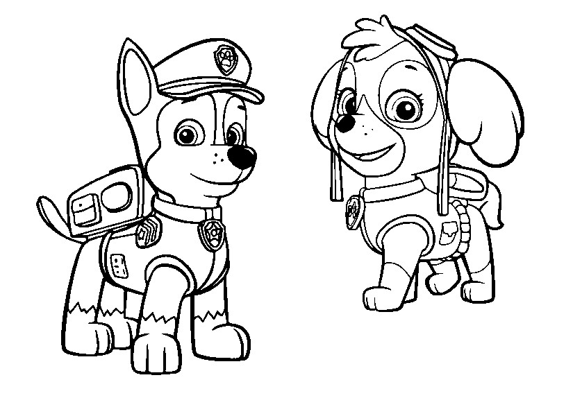 Coloring Page Paw Patrol Stella And Chase 3