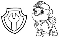 Coloring page Rubble and badge