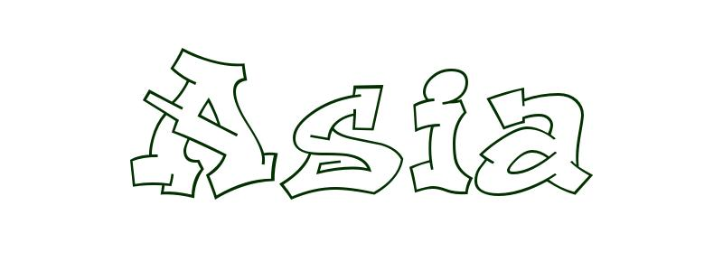 Coloring Page First Name Asia