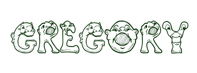 coloring page first name gregory