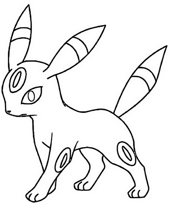 Coloring Pages Pokemon - Umbreon - Drawings Pokemon