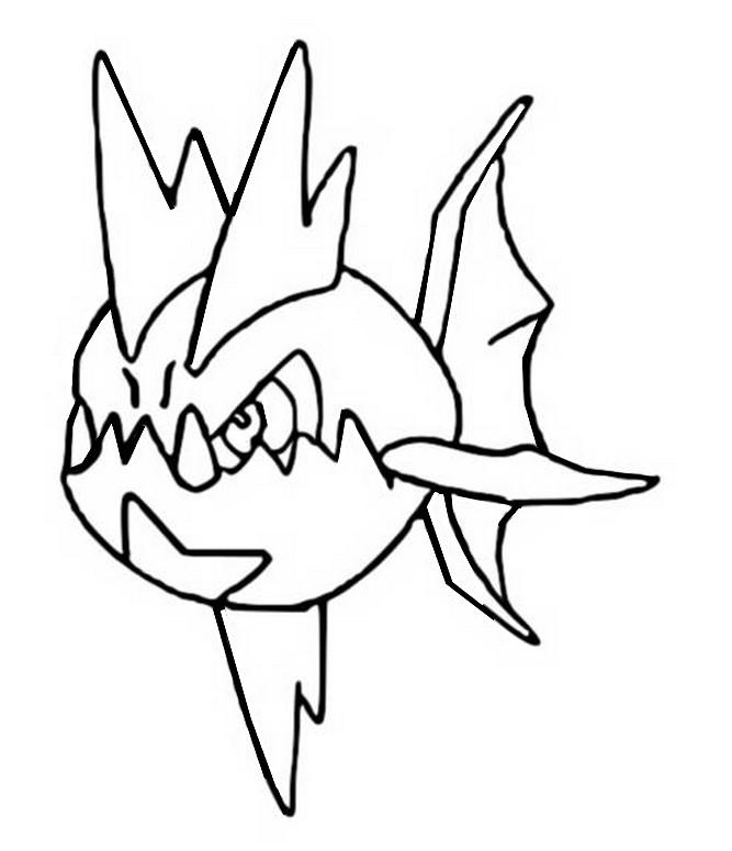 Carvanha Pokemon Kleurplaat Coloring Pages Pokemon Carvanha Drawings Pokemon