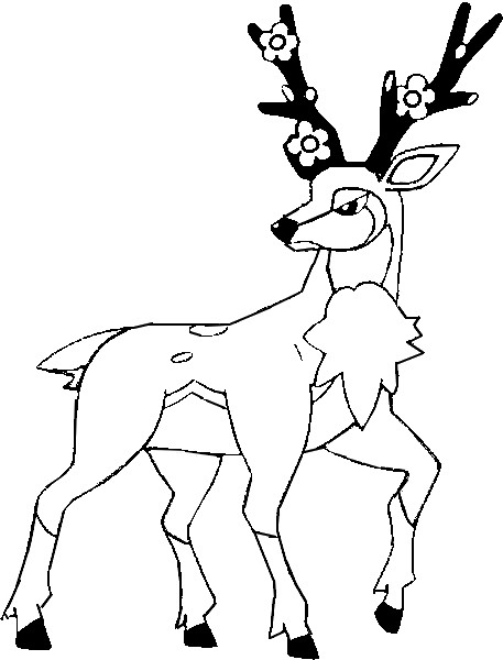 pokemon sawsbuck winter coloring pages | Coloring Pages Pokemon - Sawsbuck - Drawings Pokemon